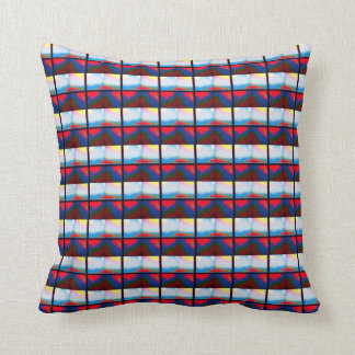 Red multicoloured striped cushion
