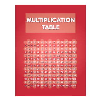 Red Multiplication Table Flyer