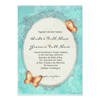 Red Mum - Butterfly Turquoise Wedding Invitation
