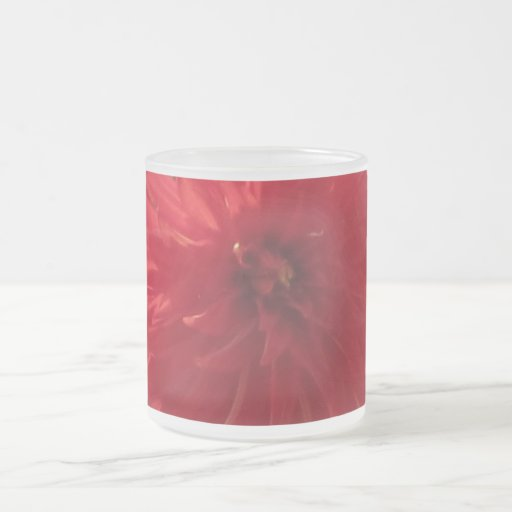 Red Mum Flower Frosted Glass Coffee Mug