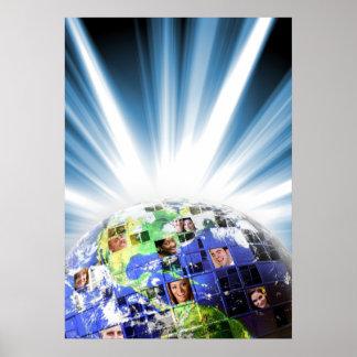Red mundial global de la gente póster