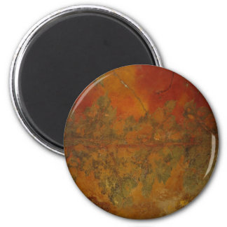 red mural background 2 inch round magnet