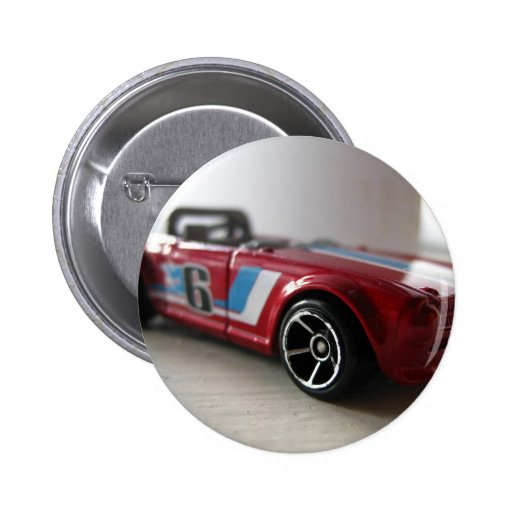 Red Muscle Car Toy 2 Inch Round Button