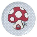 Red Mushroom House Fairy Gnome Home Dinner Plate