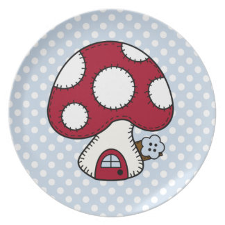 Red Mushroom House Fairy Gnome Home Melamine Plate