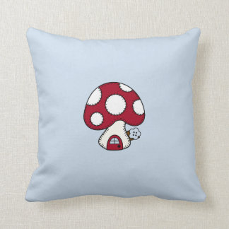 Red Mushroom House Fairy Gnome Home Pillow