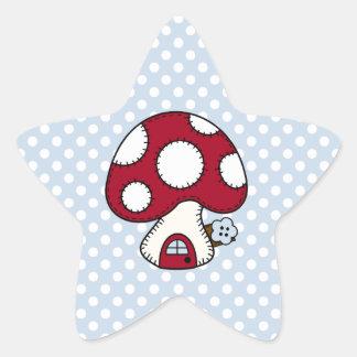 Red Mushroom House Fairy Gnome Home Star Sticker