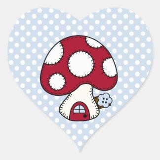 Red Mushroom House Fairy Gnome Home Heart Sticker