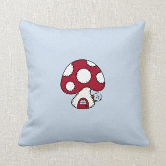 Red Mushroom House Fairy Gnome Home Throw Pillow
