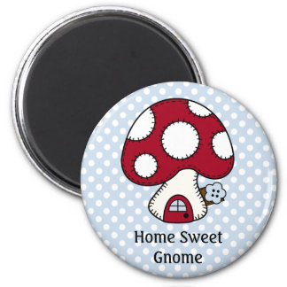 Red Mushroom House Fairy Home Home Sweet Gnome 2 Inch Round Magnet