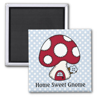 Red Mushroom House Fairy Home Home Sweet Gnome 2 Inch Square Magnet