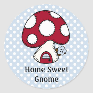 Red Mushroom House Fairy Home Home Sweet Gnome Classic Round Sticker