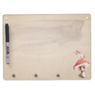 Red mushroom mouse dry erase board with keychain holder