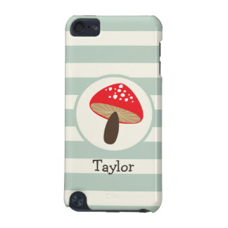 Red Mushroom on Sage Green Stripes iPod Touch 5G Cases