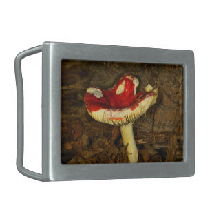 Red Mushroom Rectangular Belt Buckle
