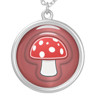 Red Mushroom Silver Plated Necklace