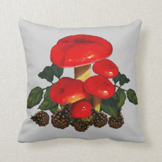 Red Mushrooms, Leaves, Pine Cones: Nature Art Throw Pillow