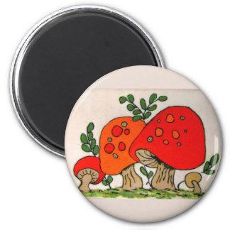 Red Mushrooms ~ magnet