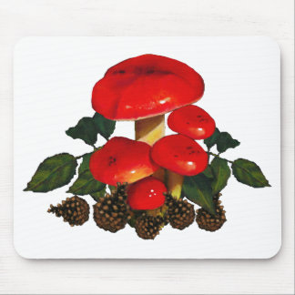 Red Mushrooms, Pine Cones; Nature Art Mouse Pad