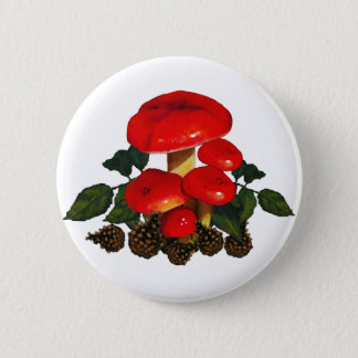 Red Mushrooms, Pine Cones; Nature Art Pinback Button