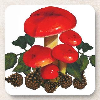 Red Mushrooms, Pine Cones: Original Freehand Art Coaster