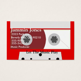 Red Music Cassette Tape Business Card