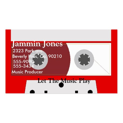 red music cassette tape business card template zazzle