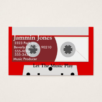 Red Music Cassette Tape Set Business Card