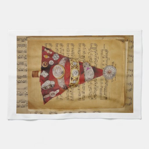 red music christmas tree kitchen towels