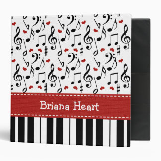 Red Music Note and Piano Album Binder