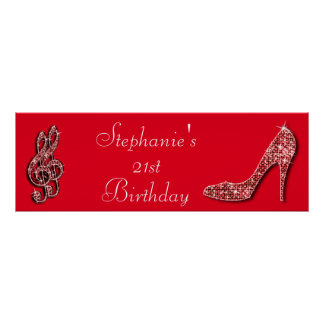 Red Music Note and Stiletto 21st Birthday Poster