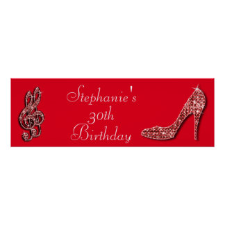 Red Music Note and Stiletto 30th Birthday Poster