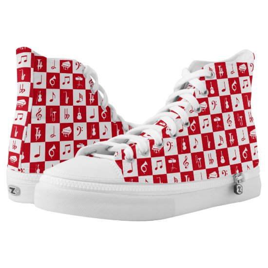 Red Music Notes and Instruments Fashion High-Top Sneakers