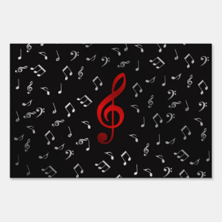 red music notes and silver black sign