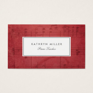 Red Music Notes Business Cards