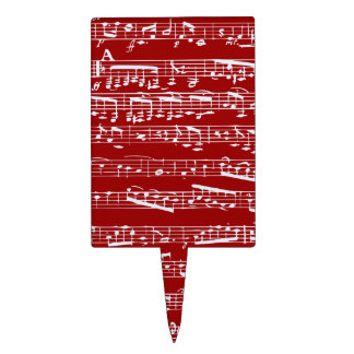 Red music notes rectangle cake picks