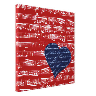 Red music notes canvas prints