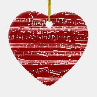 Red music notes ceramic ornament