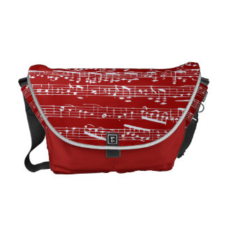 Red music notes courier bag