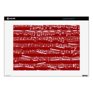 Red music notes decals for laptops