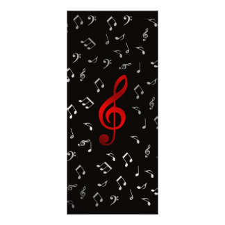 red music notes in black rack card