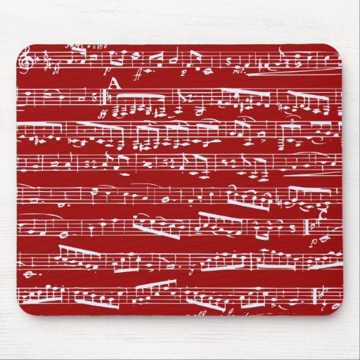 Red music notes mousepads