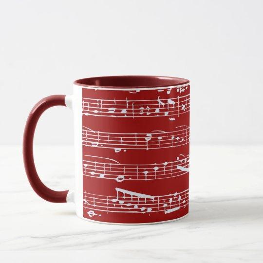 Red music notes mug