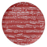 Red music notes party plate