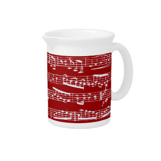 Red music notes drink pitchers
