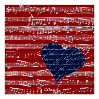 Red music notes print