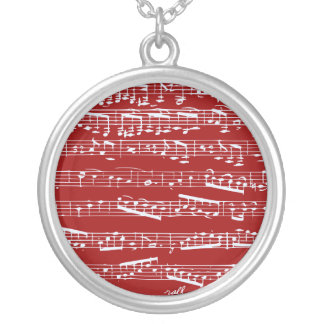 Red music notes round pendant necklace