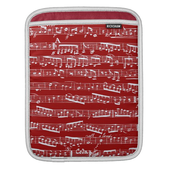 Red music notes sleeve for iPads