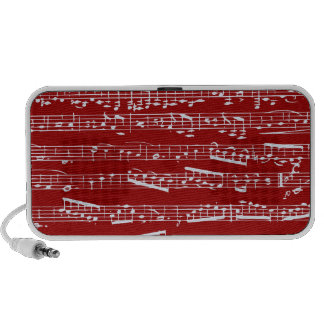Red music notes mp3 speakers
