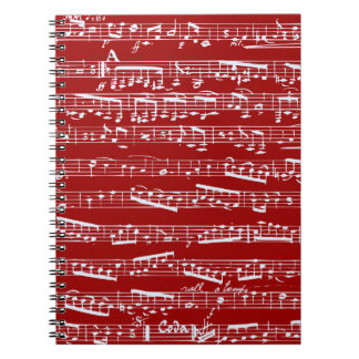 Red music notes spiral note book